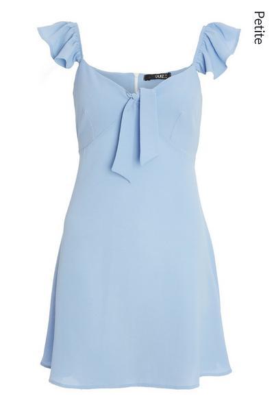 Petite Blue Tie Skater Dress